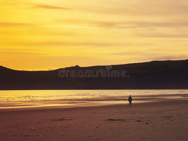 Strand am Sonnenuntergang lizenzfreies stockfoto