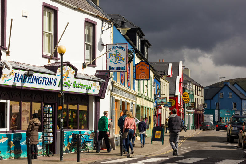 Strand street. Dingle. Ireland. Picturesque and colourful Strand street. Dingle. county Kerry. Ireland royalty free stock photos