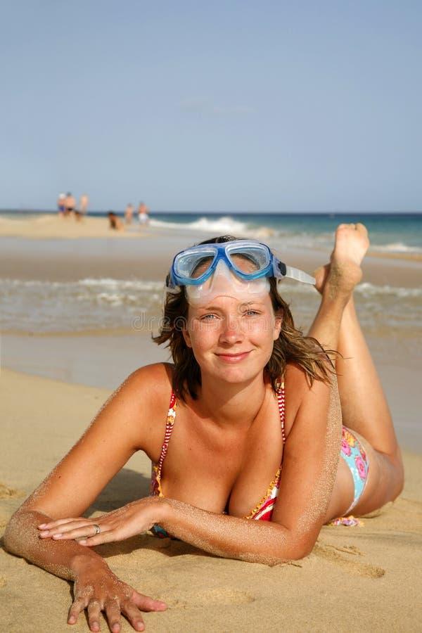 Strand Sunbather royalty-vrije stock fotografie