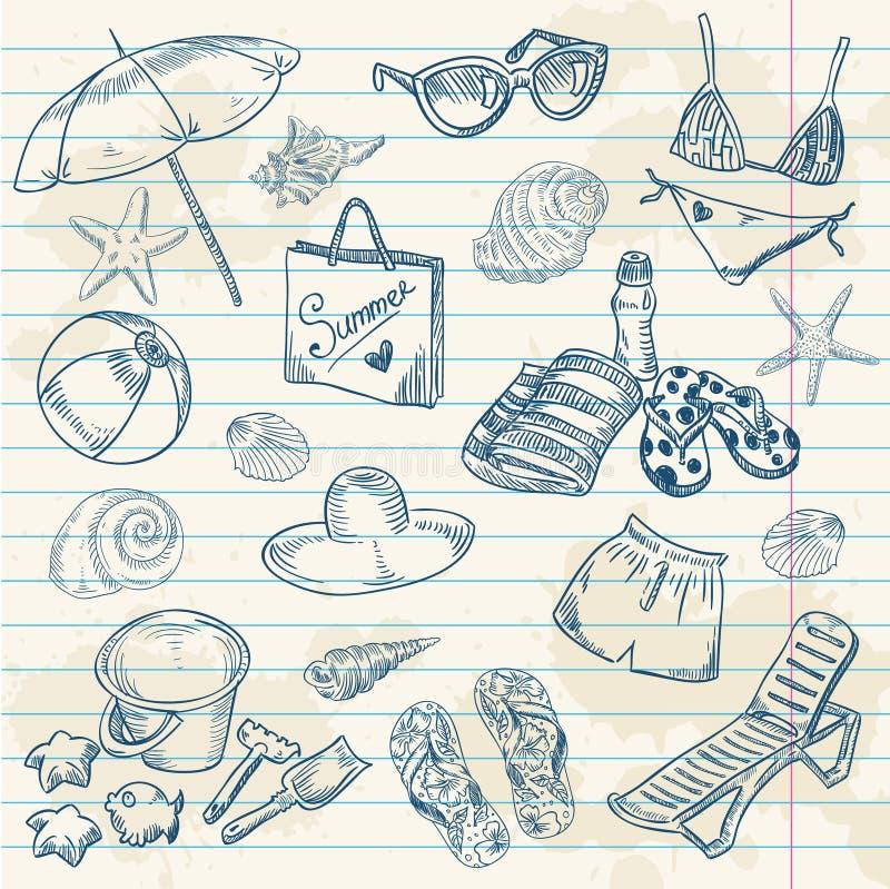 strand tecknad sommar för set för handsymboler retro vektor illustrationer