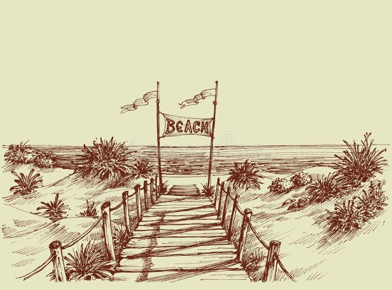 strand till långt vektor illustrationer