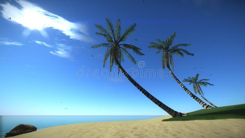 Strand tropisch eiland in de zomer royalty-vrije illustratie