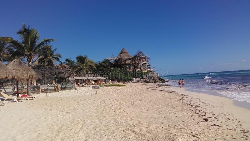 Strand in Tulum, Mexico royalty-vrije stock foto's