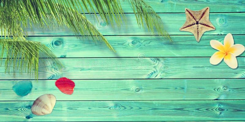 Strand und Sommerhintergrund mit blauen Planken, Palmenbaumast und Muscheln lizenzfreie stockbilder