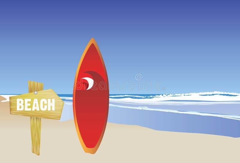 Strand und Surfbrett vektor abbildung