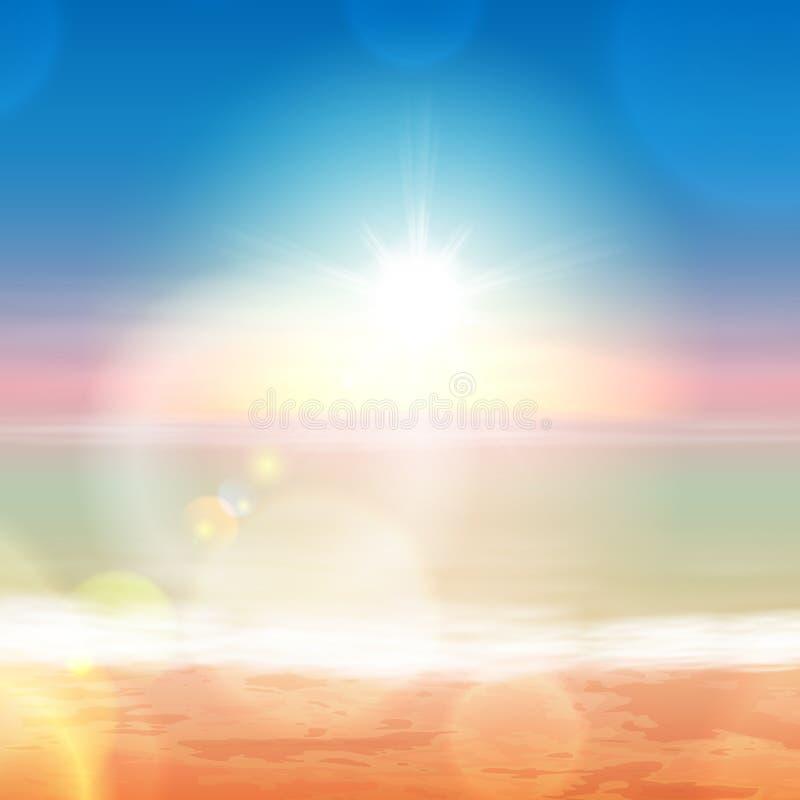 Strand und tropisches Meer mit hellem Sonnenschein lizenzfreie abbildung