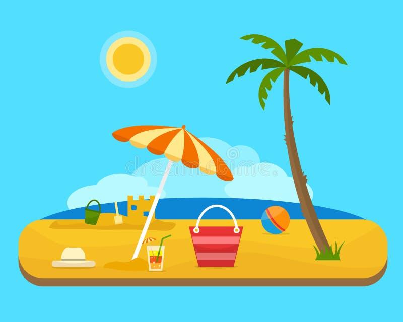 Strand unter einer Palme lizenzfreie abbildung