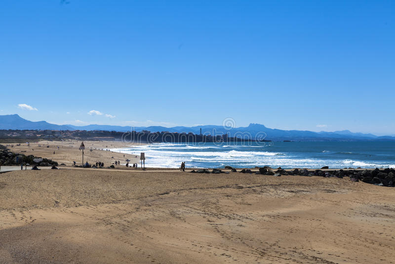 Strand van Anglet stock afbeelding