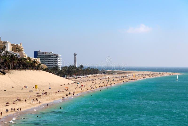 Strand van Morro Jable, Fuerteventura, Canarische Eilanden stock fotografie