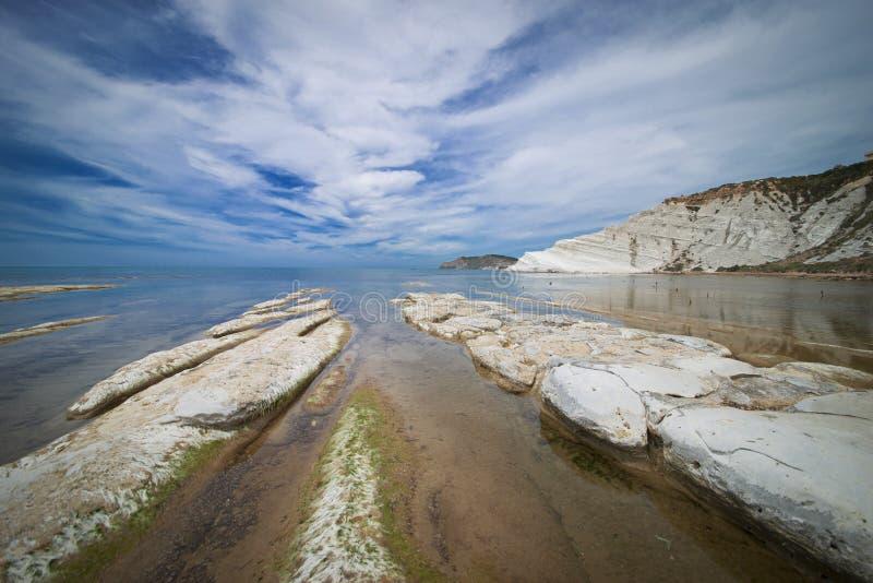 Strand van Scala Dei Turchi, Realmonte in Sicilië N stock fotografie