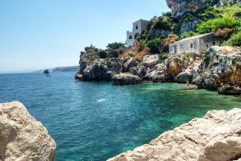 Strand van scopello, Sicilië stock foto's