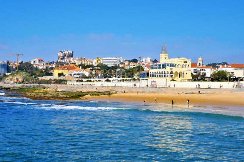 Strand van Tamariz in Estoril, Portugal royalty-vrije stock foto