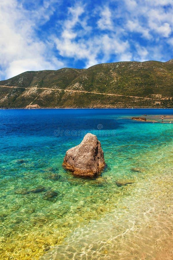 Strand in Vasiliki, Lefkada royalty-vrije stock afbeelding