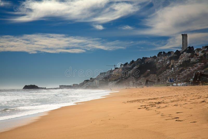 Strand in Vina del Mar, Chili stock afbeelding