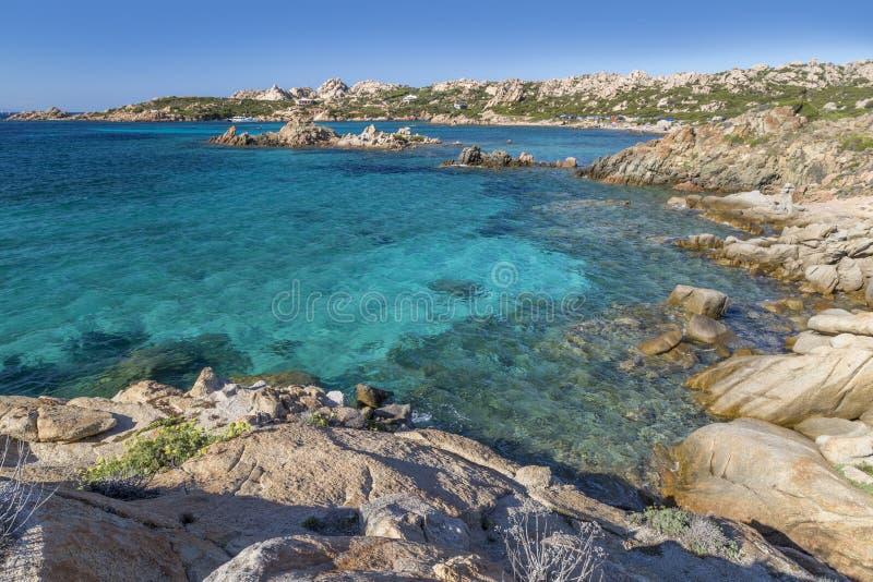 Strand von Cala Trinitàin La-Maddalena-Insel, Sardinien, Italien stockfotografie