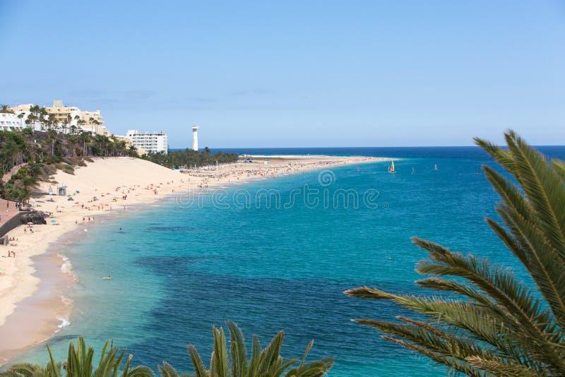 Strand von Morro Jable, Kanarische Insel Fuerteventura stockfotografie