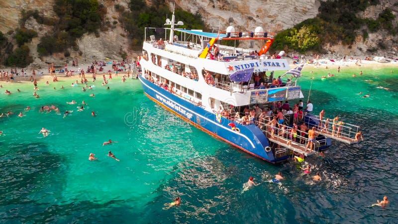 Strand von Porto Katsiki, auf der Insel Popular Griechenland - Lefkada stockbilder
