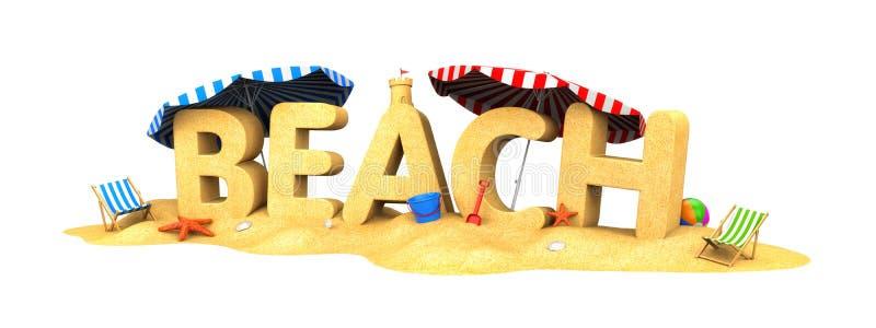 STRAND - woord van zand royalty-vrije illustratie