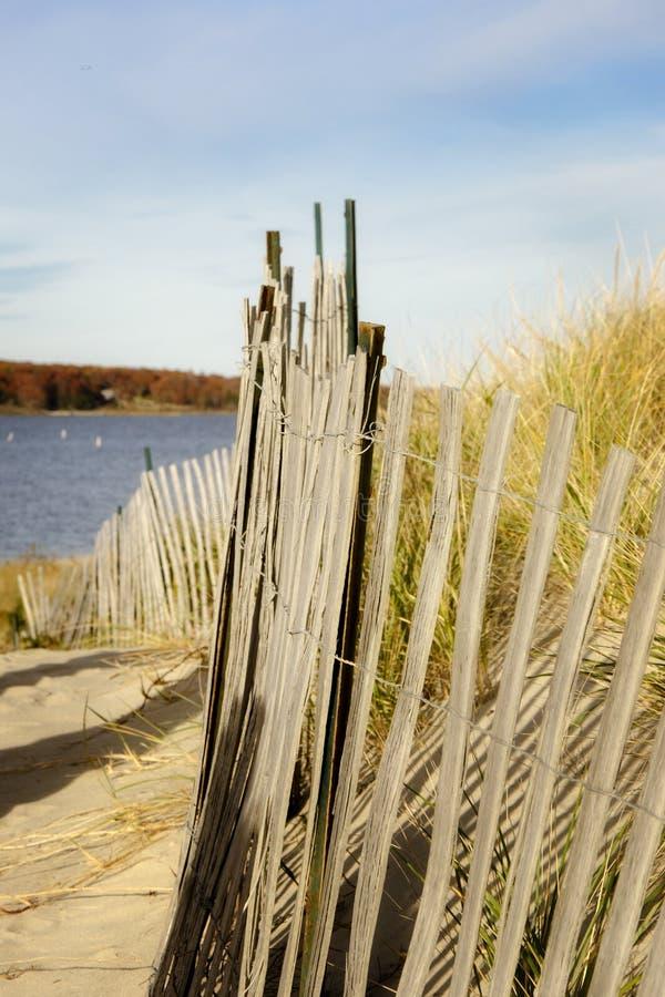 Strand-Zaun Rhode Island lizenzfreie stockfotos