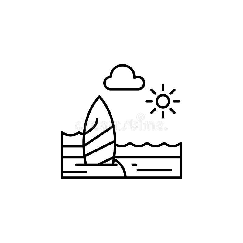 Strand, zonnig, oceaan, het pictogram van het wolkenoverzicht Element van landschappenillustratie Tekens en symbolen het overzich royalty-vrije illustratie