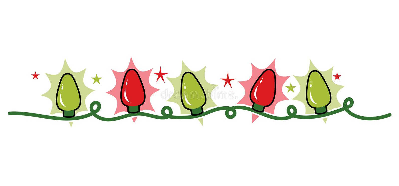 Stranda rad av feriejulljus, rött och grönt stock illustrationer