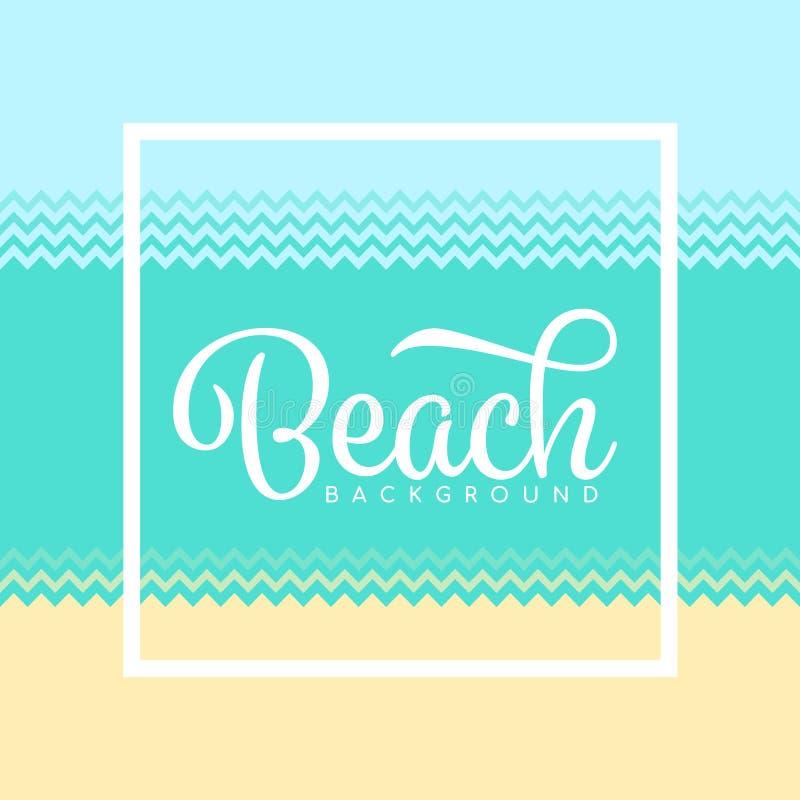 Strandachtergrond met eenvoudig van het het zandwater van de zigzagstijl overzees en de hemel vectorontwerp vector illustratie