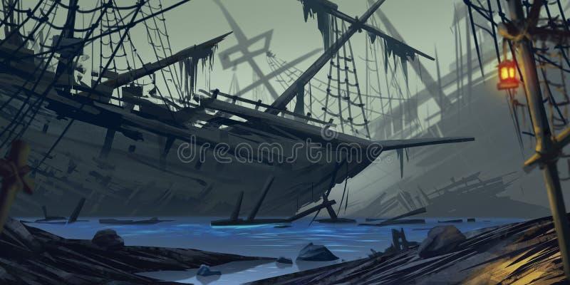 strandad ship Spökeskepp Fiktionbakgrund Begreppskonst realistisk ballonsillustration vektor illustrationer