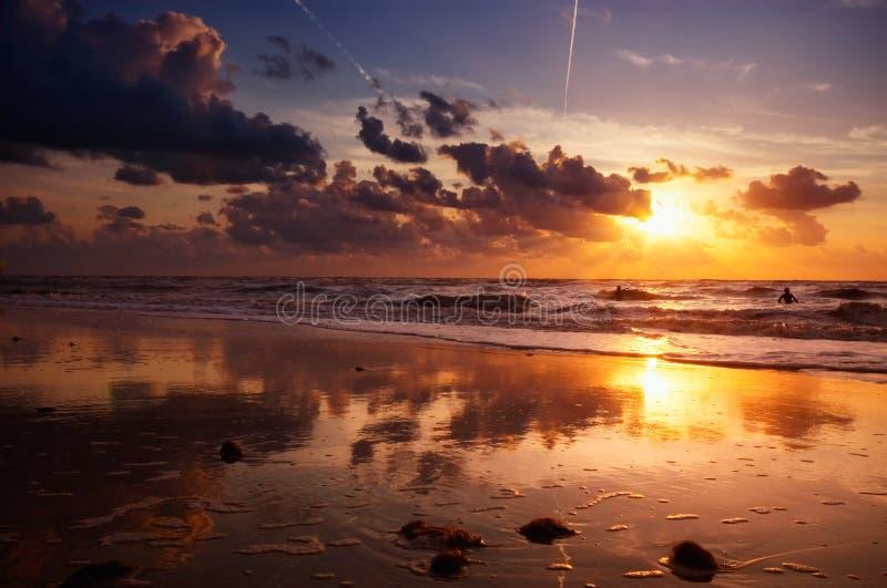 strandafton arkivbilder