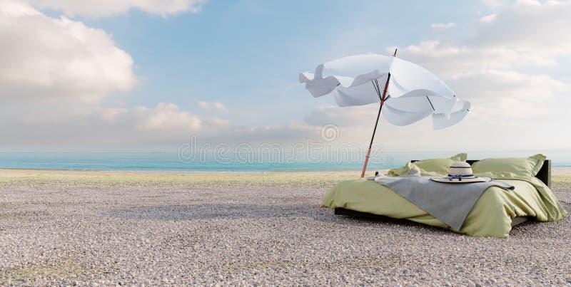 Strandaufenthaltsraum - gehen Sie mit Regenschirm auf Seeansicht für Ferien- und Sommerkonzeptfoto zu Bett stockfoto