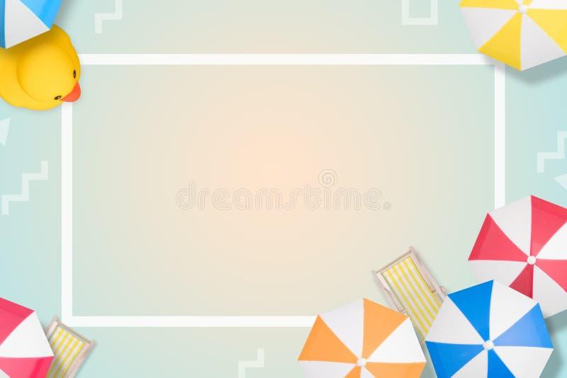 Strandbakgrund för bästa sikt med paraplyer Modernt utforma lekmanna- stil f?r l?genhet Top besk?dar kopiera avst?nd sommar f?r s stock illustrationer