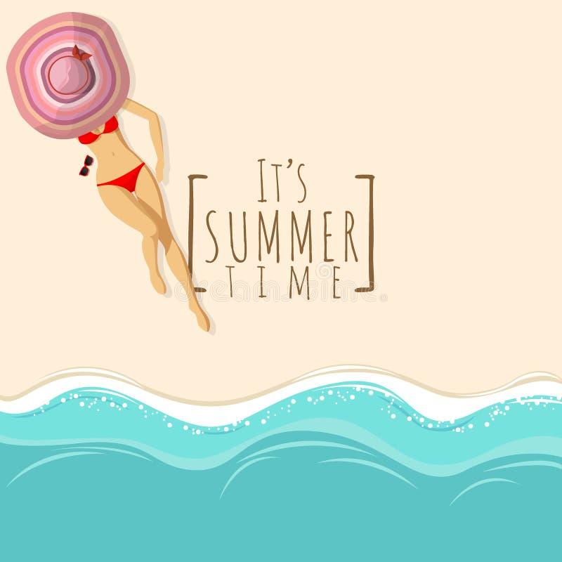 Strandbakgrund f?r den b?sta sikten med den sexiga kvinnan i r?tt bikinisimningf?lje b?r den stora hatten som solbadar p? strande stock illustrationer