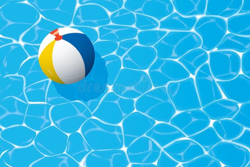 Strandbal die in een zwembad drijven De zomerachtergrond royalty-vrije illustratie