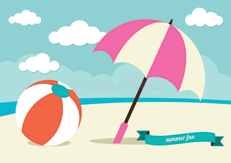 Download Strandbal en Zonparaplu vector illustratie. Illustratie bestaande uit sinaasappel - 39105095