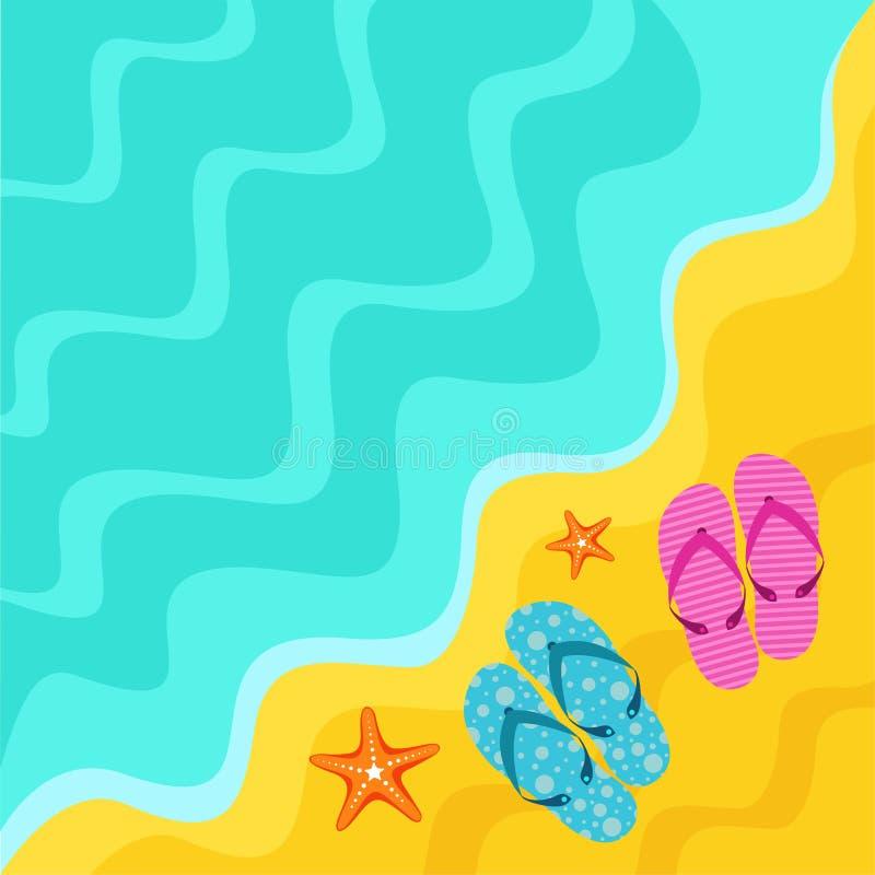 Strandbanner met wipschakelaars en zeester royalty-vrije stock afbeeldingen