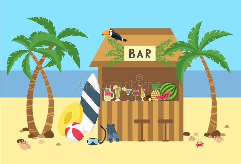 Strandbar-Cocktailfrüchte, Surfbrett, tauchende Maske vektor abbildung