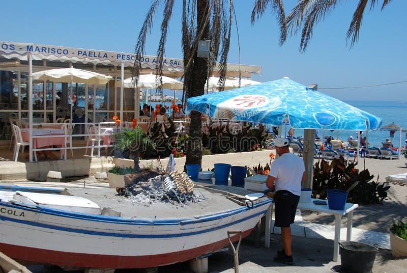 Strandbar en barbecue, Fuengirola royalty-vrije stock foto