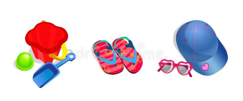 strandbarnobjekt ställde in vektorn stock illustrationer