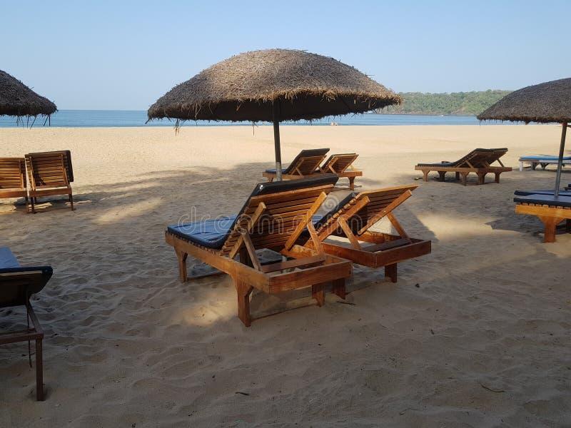 Strandbedden bij Agonda-Strand Goa royalty-vrije stock foto's