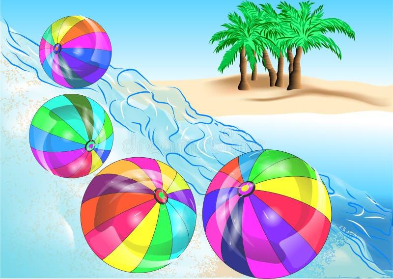 Strandbollar på kust royaltyfri illustrationer