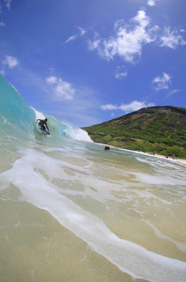 strandboogieboarder hawaii som rider den sandiga waven royaltyfri foto