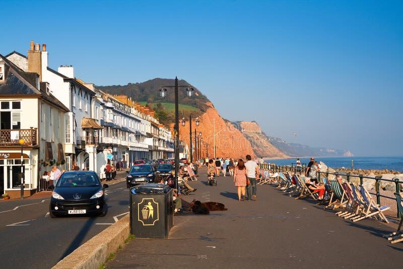 Strandboulevard in Sidmouth, het UK royalty-vrije stock fotografie