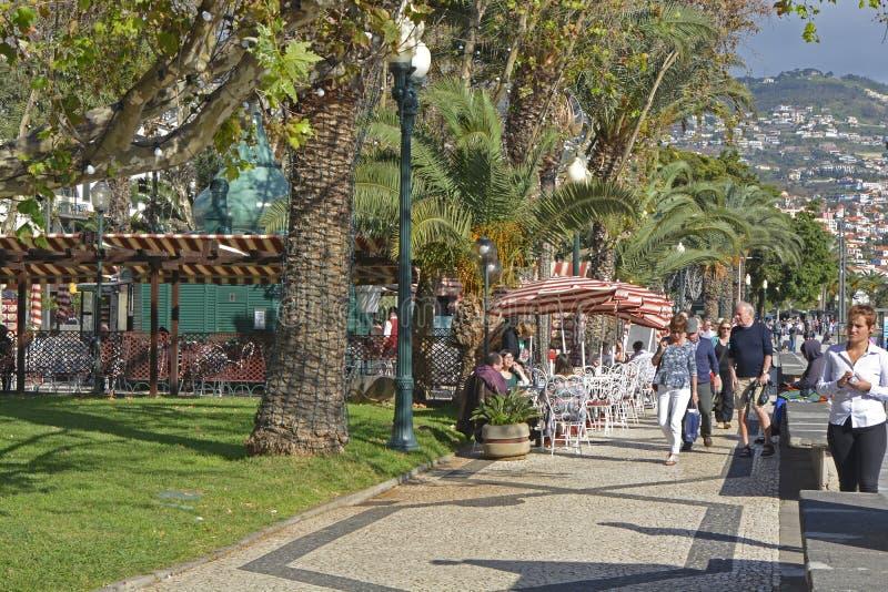 Strandboulevardpromenade in Funchal, Madera, Portugal stock afbeelding