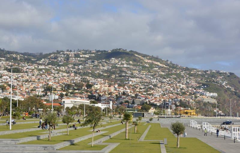 Strandboulevardpromenade in Funchal, Madera, Portugal stock afbeeldingen
