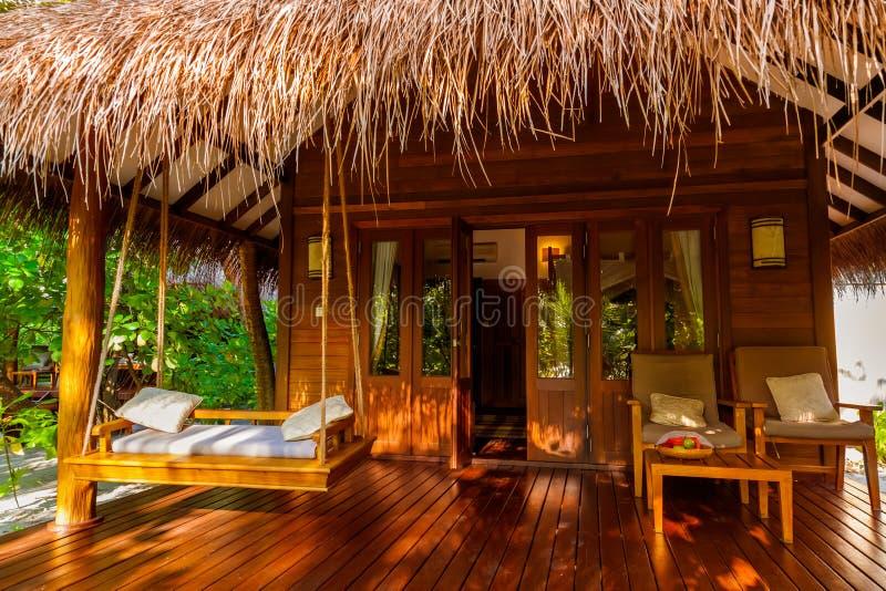 Strandbungalow - Malediven stockbilder