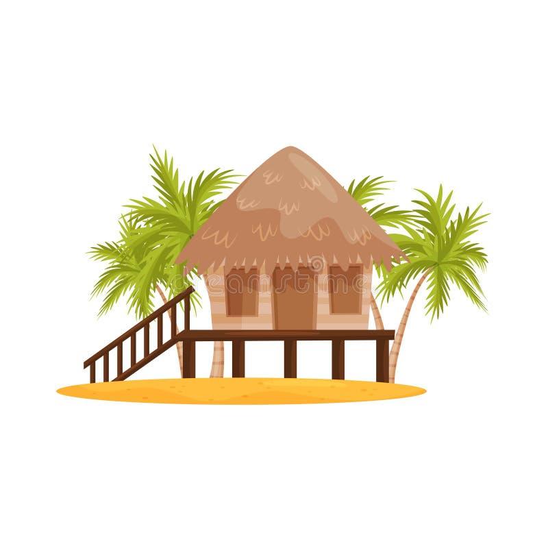 Strandbungalow met houten portiek en treden, groene palmen op achtergrond Balinees huis Vlak vectorontwerp vector illustratie
