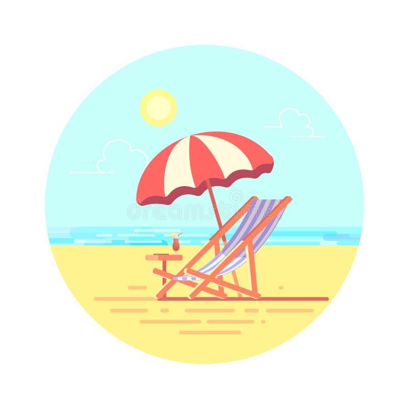 Strandchaise-longue met paraplu vector vlakke illustratie stock illustratie