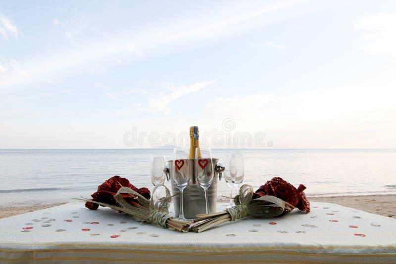 strandchampagne royaltyfri bild