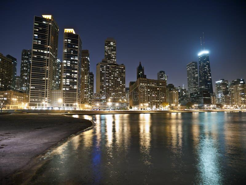 strandchicago natt fotografering för bildbyråer