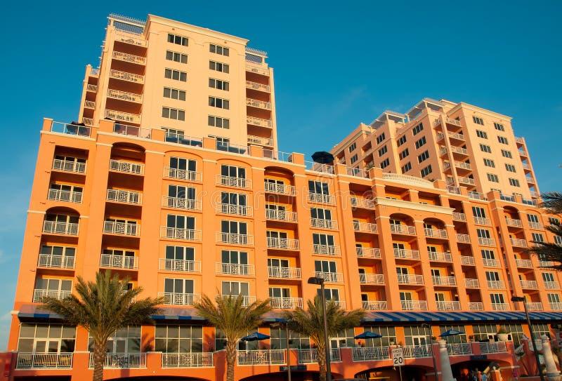 strandclearwaterflorida hotell royaltyfri bild