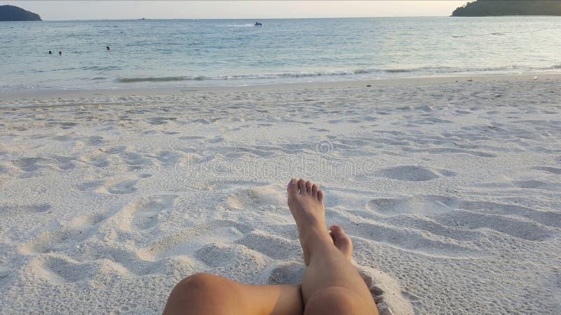 stranddagflicka little seende vatten royaltyfria bilder